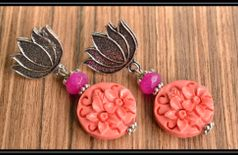 Pink carved stone Lotus Ear Studs