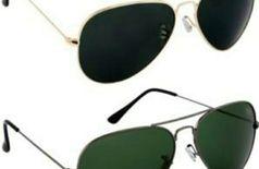 Sunglasses aviator dark green and black combo of 2 Goggles