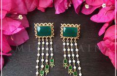 Falak Earrings - Green