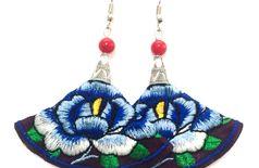 Handwork colourful floral hanging earrings ES-416
