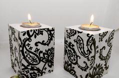 Doodle wooden candle holder (Set of 2)