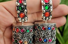 Afghani jewellery German Silver Afghani earrings studded with glass stones
