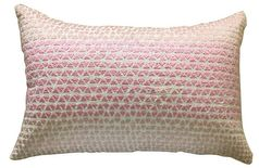 White and pink embroidery cushion Cover