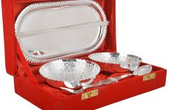 The Digital Store German Silver Bowl, Spoon And Tray Gift set