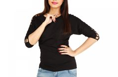 Romile Casual 3/4th Sleeve Solid Women's Black Top
