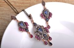 Jewelszone Statement Vintage Necklace Earring Set with Blue Rhinestone Crystal For Women