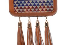 Multicolored Embroidered Tasseled Box Clutch