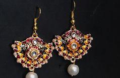 Hand crafted meen work earrings
