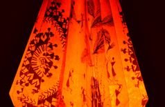 Orange Warli Art Origami Lampshade