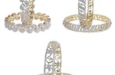 M CREATION Combo OF 3 Pair Diamond Look Bangles For Women Gift Jewelry