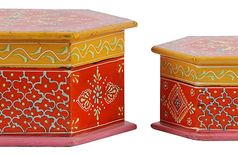 Traditional Handmade Hand Painted Decorative Wooden Handicraft Gift / Trinket / Jewelry Boxes Set of 2 Boxes