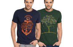 Zorchee Men's Round Neck Half Sleeve Cotton Printed T-Shirts (Pack of 2) - Navy & Dr. Green
