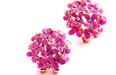 Jewels Galaxy Luxuria American Diamond Floral Designer Fancy Pink Color Earrings Women/Girls