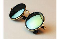 Vintage Round Sunglasses - Green