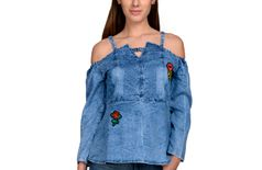 BuyNewTrend Denim Blue Off-Shoulder Womens Top