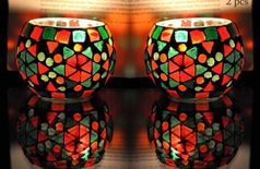 Table top Candle holder for office home Mosaic Glass design 3 x 3 Inches ( Set of 2 pc )