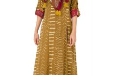 Brown cotton double layered floor length kurta