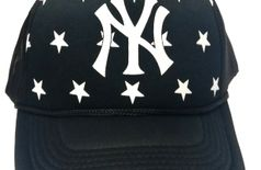 FRIENDSKART Printed White Black Ny Printed In Black Colour Half Net Cap,Trucker Cap For Boys And Girls Cap