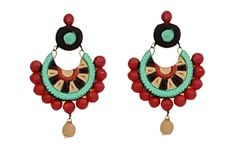Elegance & U's Combination of Black, Green, Beige with Red beads.