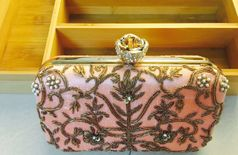 Lotus Button Zardosi Box Clutch