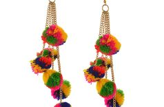 Verceys MultiColor Fashion Hook Dangle Tassel Long Funky Earrings with Pompoms for Girls And Women