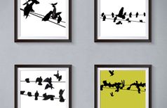 Birds on a Wire Black, White and Ochre Photo Framed Art Print with Mount/Mat Set of 4