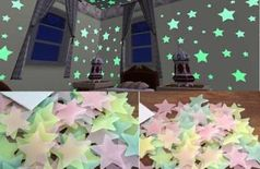 Sun Enterprises Multi Color Fluorescent Glow in The Dark Moon and Star Wall Sticker(Pack of 50)