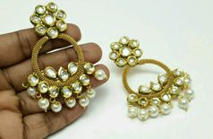 Kundan Chand Bali With Pearls