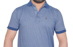 Blue printed Striped polo neck half sleeve cotton m size coller Tshirt for men & boy