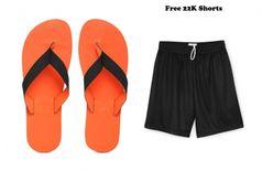 22K Orange Eezay Max Swim EVA Flip Flops Slippers for Men's with Free shorts