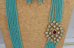 Fashion O Mania Antique Necklace With Stylish Flowered Designed Pendant And Multi Colour Pearl Mala For Women And Girls (Ethnic Wear) (Sky Blue)