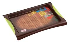 Flair® Casablanca Colorful Plastic Serving Tray , BPA-free Safety Fast Food Tray, Small+ Medium+ Big.Set of 3 (BROWN)