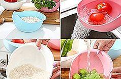 Plastic Grains & Vegetables Washing Bowl & Strainer ( Multi Color )