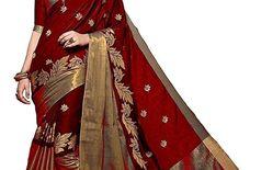 Aura work red heavy cotton  saree