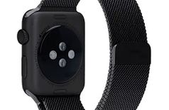 SR EXIM Stainless Steel Milanese Loop Strap with Magnetic Lock Buckle Wrist Band for Apple Watch - Black [*Watch NOT Included*]