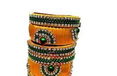 VR Boss Fashion Mango Yellow and Dark Green Color Silk Thread Traditional Wedding Occasional Bridal 6 Bangle