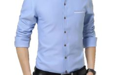 Exclusive Trendy Designer Cotton sky blue slim fit casual shirt