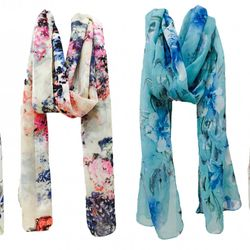 Vershaa Girl's Scarf Multi-Coloured Small 50x180 cm Floral Print Combo set of 4
