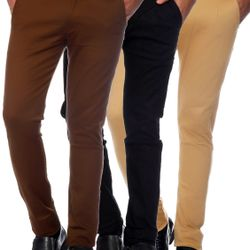 Van Galis Fashion Wear Multicoloured Combo of 3 Formal Trousers For Men_62
