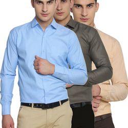 Van Galis Fashion Wear Sky Blue,Dark Grey And Orange Formal Shirts For Men Pack Of - 3