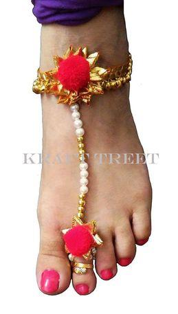 Women Anklets Pom N Gota Anklet Pair