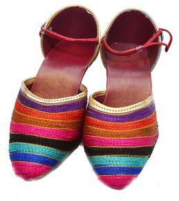 Women Ethnic Textile Shoes Blue