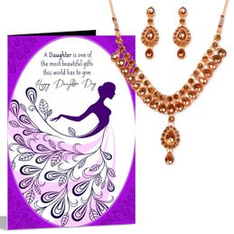 others combos happy daughter day necklace greeting card hamper 245 - Valentine039s Day Greeting Cards