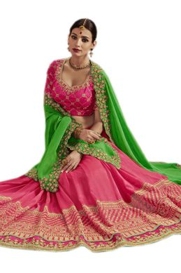 14402513babdd Buy Parrot Green Pink Combination Silk Saree Online In India At Best