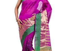 Fancy Monika Chanderi Magenta Banarasi Saree with Triangle design