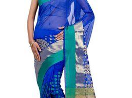 Fancy Monika Chanderi Royal Blue Banarasi Saree with leaf Design