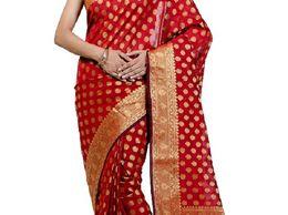 Traditional Red Monika Chanderi Baranasi Saree