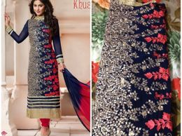 Heena Only Blue Semi Stiched Dress Material Stylish Straight Suits Flower Power