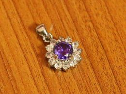 Amethyst Look Silver Plated Pendant