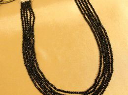 Black Onyx Crystal Look 5 Line Necklace